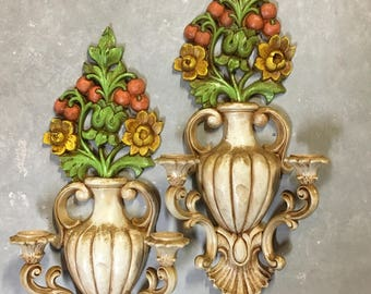 Candle Sconce Pair Vintage 1965 Homco Syroco Italian Tole Style French Farmhouse Retro