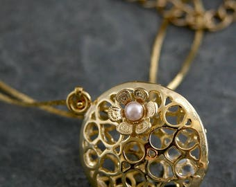 SALE - Unique Necklace, Gold round pendant with Filigree Flower and Petite Freshwater Pearl, Unique Gold Necklace