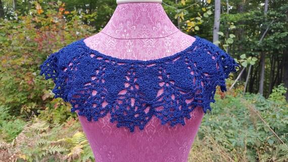 Victorian crochet collar, women's accessories, blue sapphire collar, bridesmaid accessories, victorian accessory, costume accessory