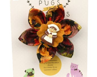 Autumn Dog Bow - Pilgrim Girl on Autumn Leaves - Flower - Collar Blossom - Medium Size