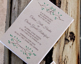Beautiful Branches Wedding Invitation - Greenery Wedding Invitations, Rustic Wedding Suite, Printed Invitation, Fall Rustic Invites