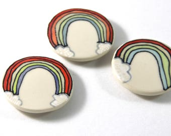 Rainbow Magnet Handmade Ceramic Refrigerator Magnet Rainbow Illustration with White Background Cute Pottery Magnets Small Gifts Under 10