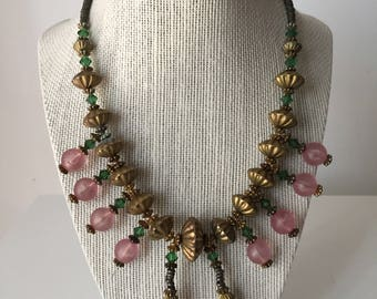 Vintage Egyptian Style Glass & Brass Bead Necklace
