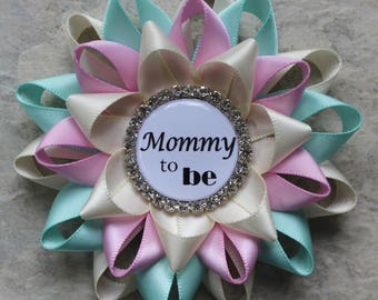 Gender Neutral Baby Shower Ideas, Mommy to Be Pin, Gender Reveal Party Decorations, Grandma to Be, New Mommy Gift, Ivory, Aqua, Bubblegum