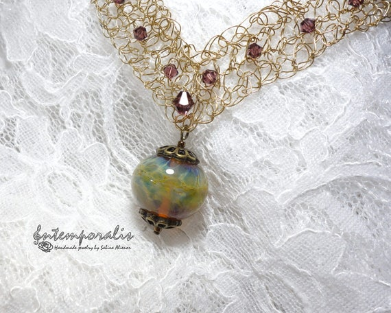 Crocheted wire necklace with handmade lampwork bead, SACOLW01