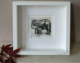 Elephant Baby Art Print Limited Edition Hand-Pulled Collograph
