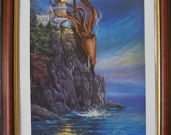 Giant Squid attack! Altered original painting
