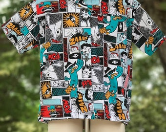 Phineas and Ferb button up shirt - Perry the Platypus button up shirt - Ready to Ship boys Disney shirt size 5t
