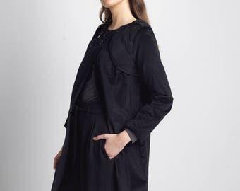 Black velvet coat, winter coat, black coat, flowers linen, long sleeves, buttons, dress coat, a-cut, cozy, formal, open jacket, black jacket