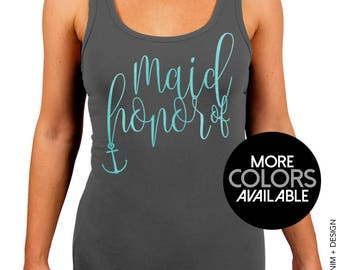 Nautical Maid of Honor Stretchy Tank. Nautical Beach Wedding. Granite Workout Stretchy Tank Top. White. Black. Rose Gold. Aqua Ink Options
