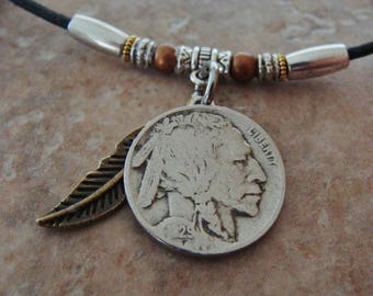 Authentic Antique 1929 BUFFALO NICKEL and INDIAN Head Pendant with Beadwork