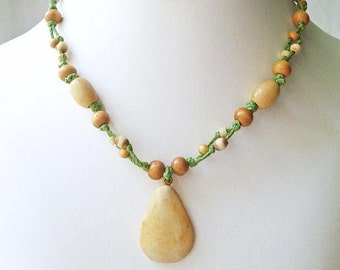 Beaded Macrame Necklace carved bone Pendant necklace wood beads knotted fiber jewelry boho chic style hippie jewellery