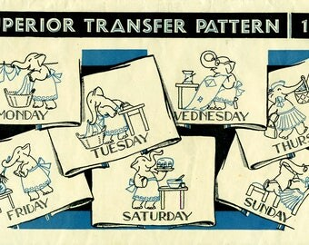 DOW ELEPHANTS Superior Embroidery Transfer Pattern 105 Days of Week for Towels Very Vintage Hot Iron Transfers RARE