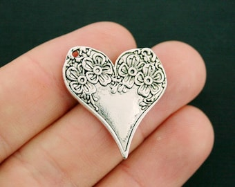 2 Floral Heart Charms Antique Silver Tone 2 Sided Intricate Detail - SC6217