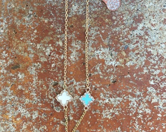 Evil Eye Rose Gold Hamsa Hand with 14k Gold Clover Rhinestone Charm Choker Necklace