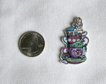 Acrylic Disney Alice Teacup Stack Inspired Bow Center Magnet Badge Reel Accessories Mad Tea Party Wonderland
