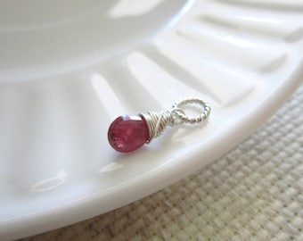 Dk- Genuine Ruby Birthstone Charms - Natural Stone Jewelry - Natural Ruby Pendant - Sterling Silver Charms - Dark Red Stone Necklace Charms