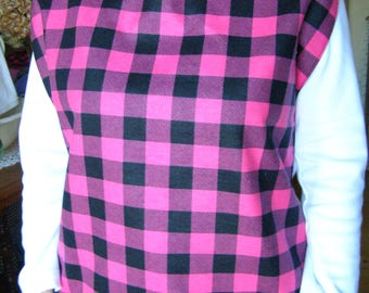 Flannel pink/black Adult Shirt Protector special needs bib reversible extra long