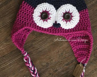 Handmade Crochet Owl Hat with Earflaps and Braids in Navy Blue and Magenta in All Sizes