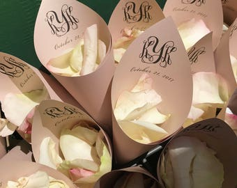 Personalized Wedding Petal Favor Cones (Shown in Rose Gold)