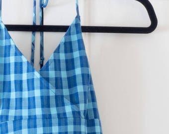 Vintage 90's Blue Plaid Checkered Mini Halter Dress / Summer / Size S / Clueless