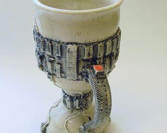 Tall Funky Circuit Board Pedestal Mug