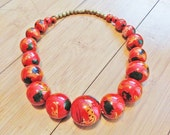 NEW Vintage 1970 African Gazelle Safari Gold Orange Red Art Paint Wood Bead Necklace