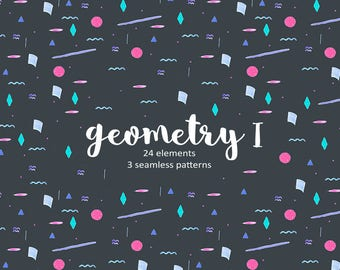 Geometry Digital Papers, Geometric Clipart, Shapes Cliparts, Watercolour Shapes, Party Patterns, Confetti