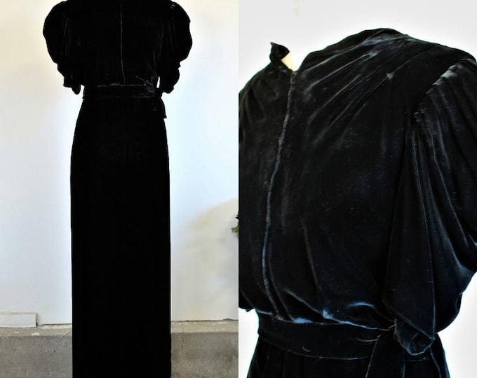 Featured listing image: Vintage 1930s Black Silk Velvet Dress / Rare Kiviette Designer Cocktail Full Length Gown Evening Wear / Fashion Originators Guild / Broadway