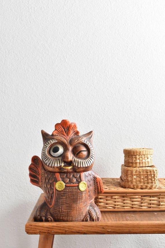 large winking waving ceramic owl cookie jar / kitschy kitchen decor