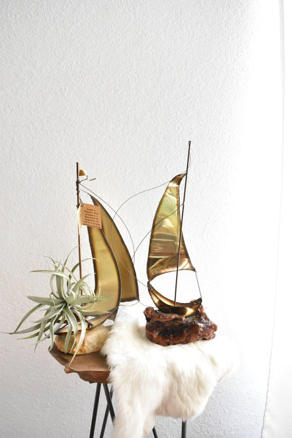 vintage tall copper brass sail boat sculpture with burl wood base / ship figurine / jere style