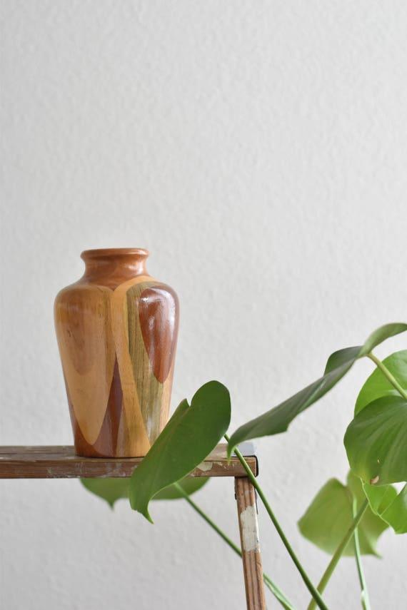 decorative turned carved wood vase