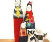 Reserved for Brook - Custom Family Portrait - Family dolls  - Soft sculpture dolls - Timo handmade dolls