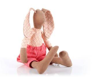 Cloth Bunny Doll , Rag Doll, Fabric Doll , Plushie Softie , Stuffed eco bunny , handmade fabric doll ,Plush rabbit doll , Soft Toy ,boy doll