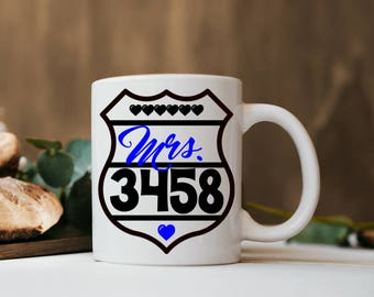 Police Wife Coffee Cup Badge Number