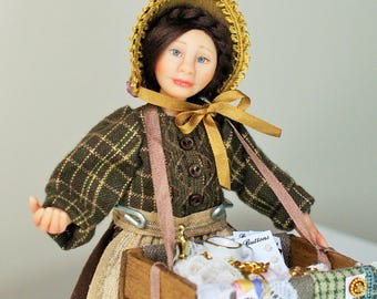 Hannah the victorian pedlar, hand sculpted miniature dollhouse doll in 1/12th, one inch scale, ooak by Jendlewick Dolls