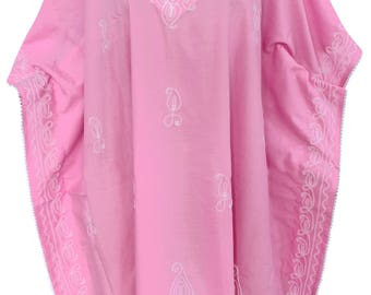 Women's Embroidered Vintage Beach Dress Swimsuit Bikini Cover up Kimono Caftan - 117568