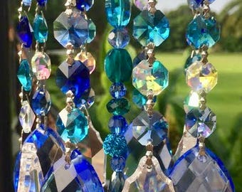 Crystal Prism Wind Chime - Indoor or Outdoor - Handmade - Blue Crystal Garden Art - Crystal Blue Persuasion