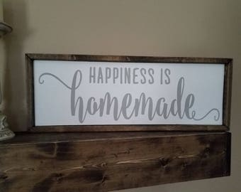Happiness is Homemade Sign  11.5h x 21.5w handmade painted canvas  rustic wood frame shabby chic home family livingroom kitchen farmhouse