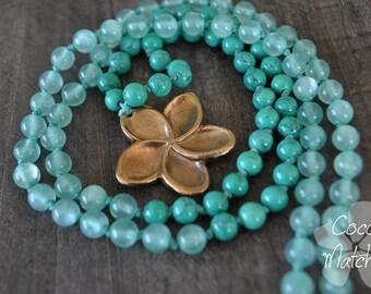 Collier long - Fleur exotique - Frangipanier - Plumeria - Bijou exotique - Aqua necklace - Coco Matcha