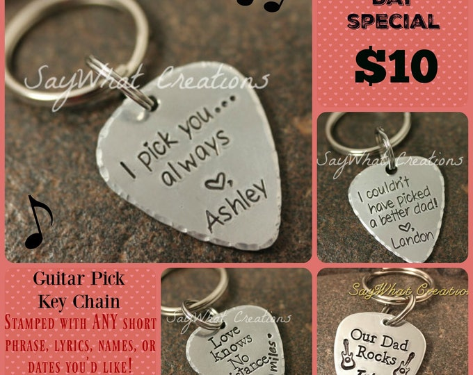 Guitar Pick Key Chain Sale ANY phrase, lyrics, names, or dates personalized