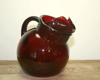 Anchor Hocking Royal Ruby Red Depression Glass Juice Tilt Ball Pitcher, Vintage 1940's Glass Dinnerware