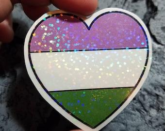 Holographic Sticker - Non Binary heart