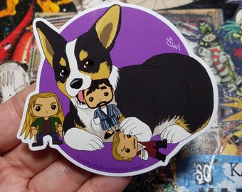 Vinyl Sticker - Tri Colored Corgi with Funko Chew Toys
