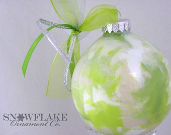 MUTED GREENS Custom Christmas Ornament - Personalized Glass Gift