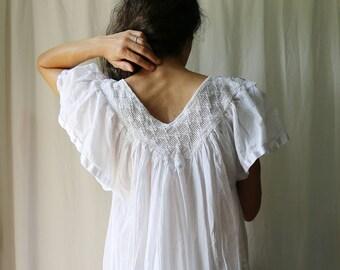 Vintage Cotton Gauze Angel Sleeve Dress // Summer Sun Dress