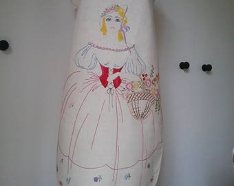 Gorgeous Vintage Hand Embroidered Calico Apron. Pretty Girl in Costume with Basket of Flowers. Never worn.