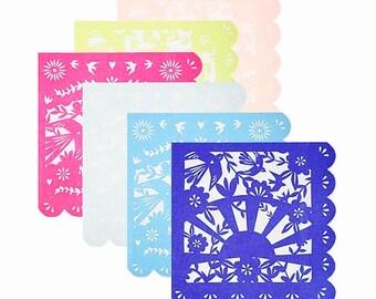 Fiesta Napkins - Paper Picado Mexican Fiesta Party Decor, Summer Table Decor, Taco Bar, Cinco de Mayo, Bachelorette Party, Cactus Wedding