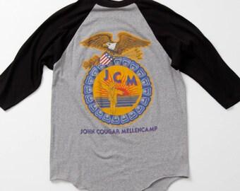 John Cougar Mellencamp tee, 1986 Scarecrow tour t-shirt, JCM band tee