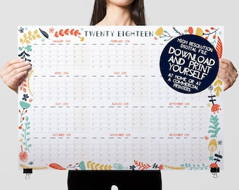 Printable Wall Planner, 2018 Calendar, Year Organiser, 2018 Wall Planner, Appointment Tracker, Wedding Planner, Habit Tracker, 12 Months